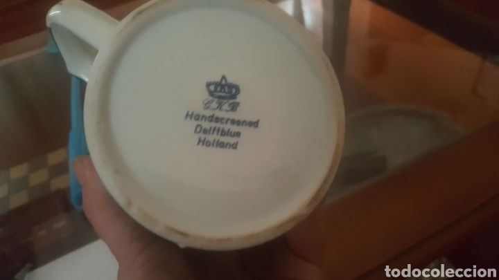 Antigüedades: Jarra de ceramica heineken handscreened delftblue holland - Foto 2 - 183479462