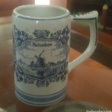 Antigüedades: JARRA DE CERAMICA HEINEKEN HANDSCREENED DELFTBLUE HOLLAND. Lote 183479462