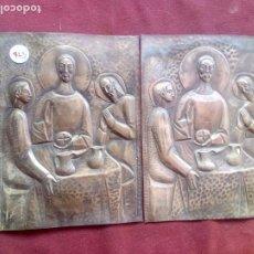 Antigüedades: 2 PLACAS MOTIVOS RELIGIOSOS. PLATA CONTRASTADA. Lote 183486135