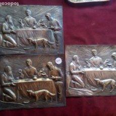 Antigüedades: 3 PLACAS MOTIVOS RELIGIOSOS. PLATA CONTRASTADA. Lote 183486203