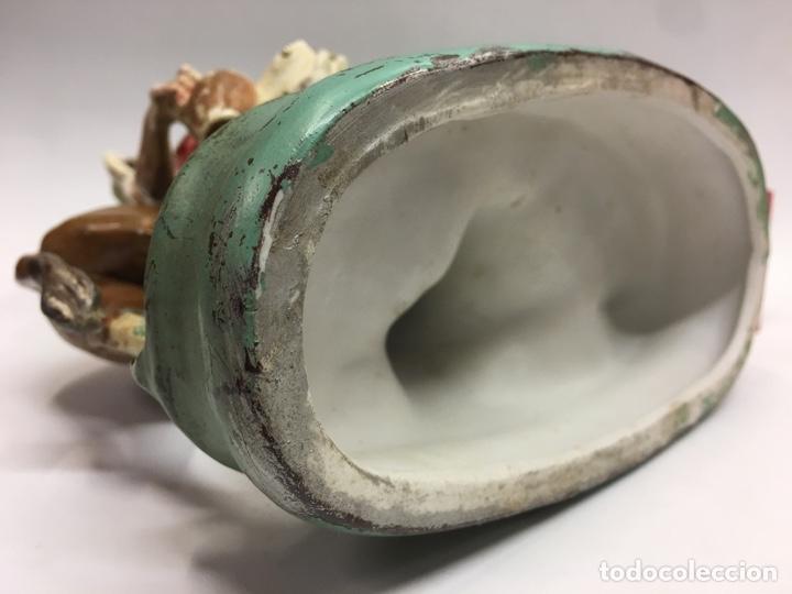Antigüedades: Preciosa figura en cerámica y peltre de mujer o chiquilla con burro y jarrón de agua - - Foto 7 - 183504073
