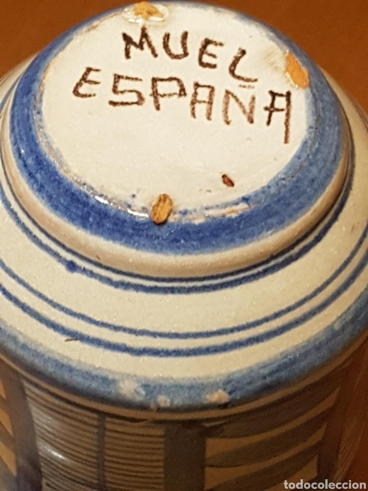 Antigüedades: Pequeño bote albarelo de farmacia de cerámica de Muel color azul - Foto 4 - 183512192