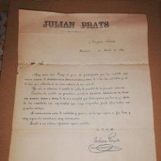 Antigüedades: 1883 CARTA LISTA DE PRECIOS ABANICOS JULIAN PRATS MADRID. Lote 183521331
