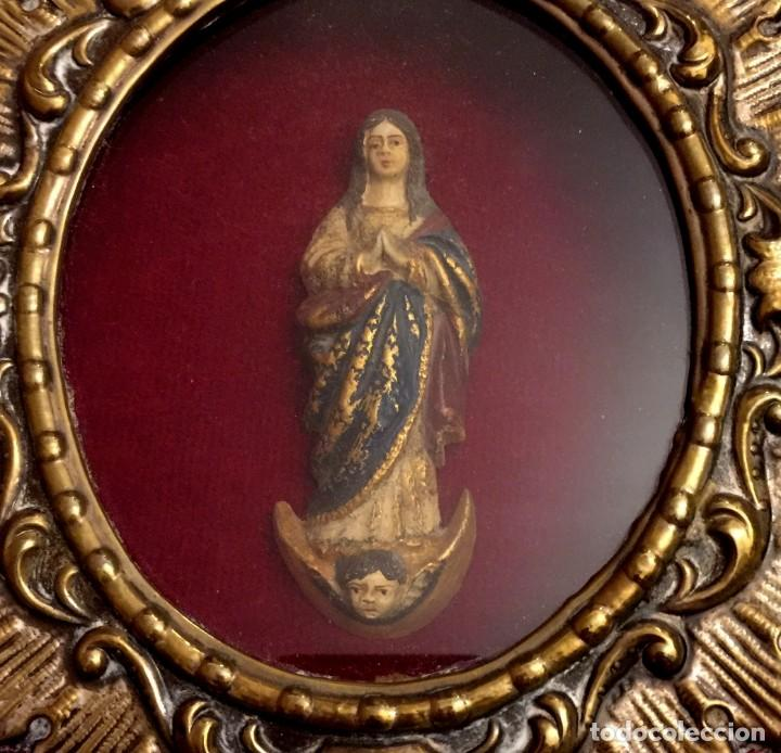 Antigüedades: ANTIGUO RELICARIO DE ALPACA REPUJADA VIRGEN INMACULADA. - Foto 2 - 183531236