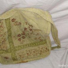 Antigüedades: BOLSO DE PANA BORDADO MARRON FLORAL. Lote 183531973
