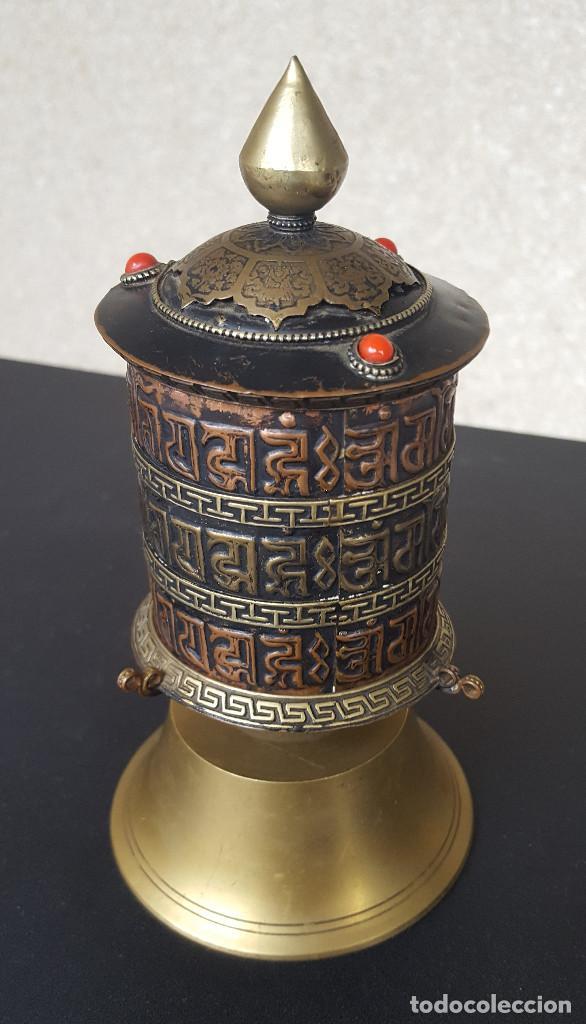 RUEDA DE ORACIÓN TIBETANA (Antigüedades - Religiosas - Artículos Religiosos para Liturgias Antiguas)