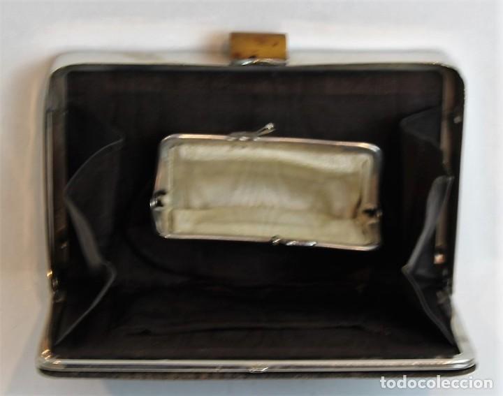 Antigüedades: Antiguo bolso monedero, piel, carey y acero, 18,5 x 12 cm - Foto 2 - 183573032