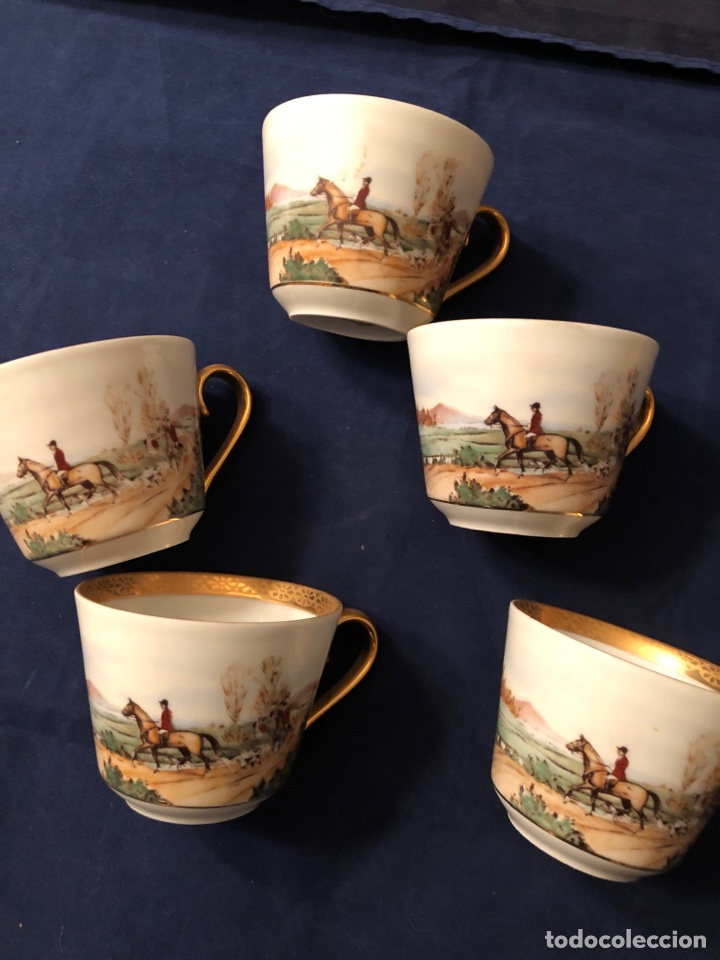 Antigüedades: 5 tazas de café de porcelana Fina francesa LIMOGES - Foto 3 - 183601411