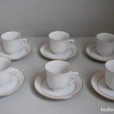 Antigüedades: JUEGO DE CAFÉ O TÉ - SEIS TAZAS Y SEIS PLATOS - PORCELANA WINTERLING BAVARIA. Lote 183613772