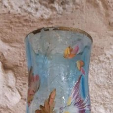 Antiquités: RESERVADO JARRON ANTIGUO DE CRISTAL DE LA GRANJA PINTADO A MANO 32 CMS. ALTO X 9,5 DE DIAMETRO. Lote 183625462