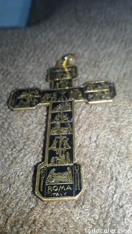 Antigüedades: Cruz de chapa y el cristo de metal - Foto 5 - 183634128