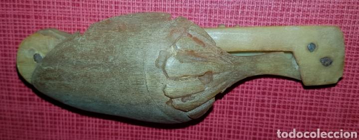 Antigüedades: Antigua cuchara tenedor plegable arte pastoril iniciales MS asta de toro - Foto 3 - 183657002