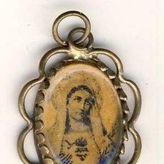 Antigüedades: MUY ANTIGUO COLGANTE-MEDALLA CON EL INMACULADO CORAZÓN DE MARÍA.- METAL.- 26 X 18 MM.-. Lote 183659790