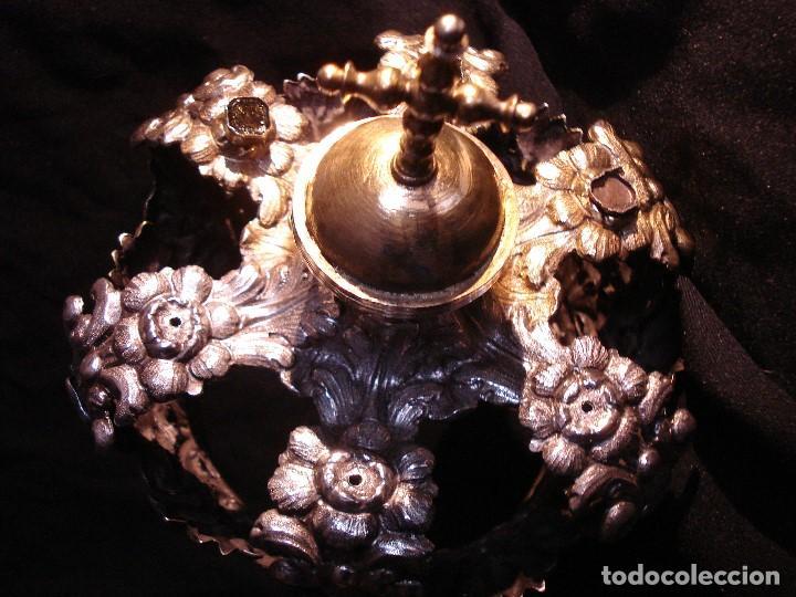 Antigüedades: MAGISTRAL CORONA DE PLATA CON CABUJONES SXVIII SXIX GRANDES MEDIDAS - Foto 13 - 183660186