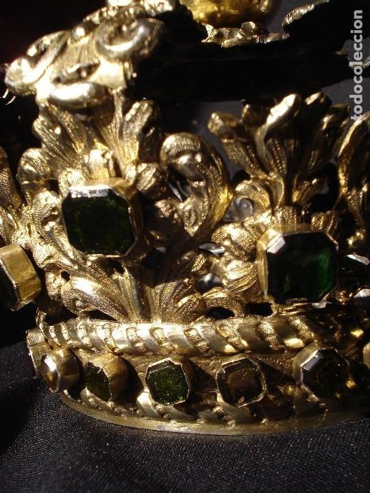 Antigüedades: MAGISTRAL CORONA DE PLATA CON CABUJONES SXVIII SXIX GRANDES MEDIDAS - Foto 17 - 183660186