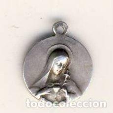 Antigüedades: MUY ANTIGUA MEDALLITA CON LOS CORAZONES DE JESÚS Y DE MARÍA.- METAL PLATEADO 12 MM.-. Lote 183660771