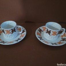 Antigüedades: DOS TAZAS DE CAFÉ CON SU PLATO CASTRO FINÍSIMA PORCELANA SELLO DOLMEN. Lote 183666128