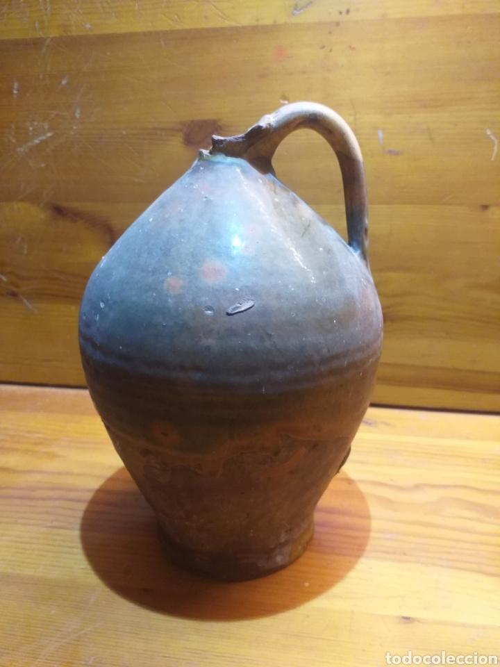 ANTIGUA BOTELLA CATALANA DE CERAMICA VIDRIAD 25CM ALTO, (Antigüedades - Porcelanas y Cerámicas - Catalana)