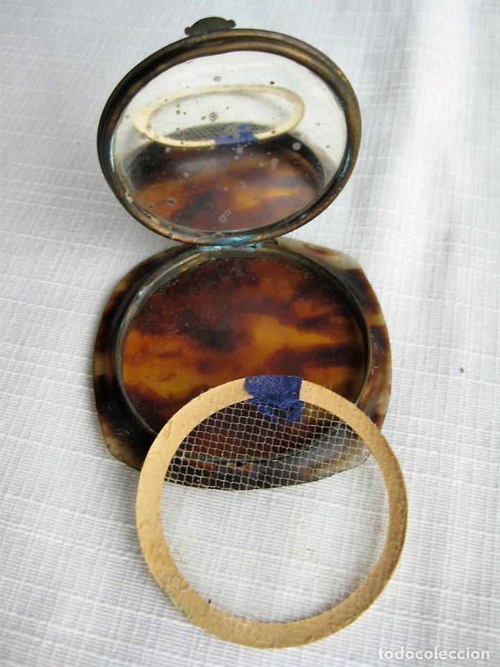 Antigüedades: POLVERA DE CAREY DECORADA A MANO - Foto 4 - 183668615
