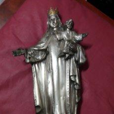 Antigüedades: VIRGEN CON JESÚS.FUNDIDA EN COBRE Y BAÑO DE PLATA.. Lote 183679691