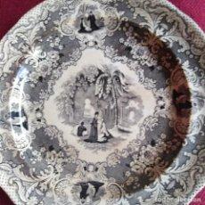 Antigüedades: PLATO ANTIGUO DE MUY FINA CERÁMICA, ESCASO, 1840-50. Lote 183688930