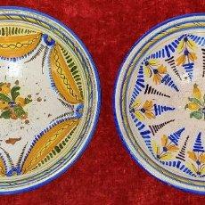 Antigüedades: 2 PLATOS EN CERÁMICA ESMALTADA EN COLORES. CATALUNYA. ESPAÑA. XIX-XX. Lote 183690157
