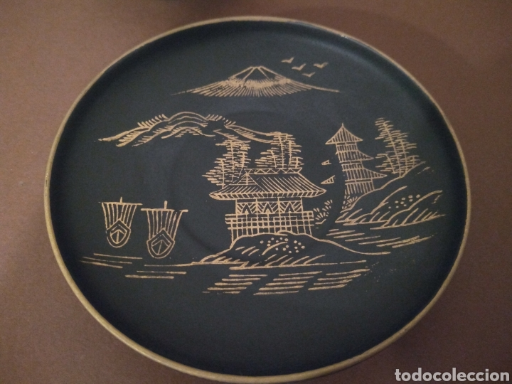Antigüedades: Juego Café Eiho Negro Dorado - Foto 2 - 183702615