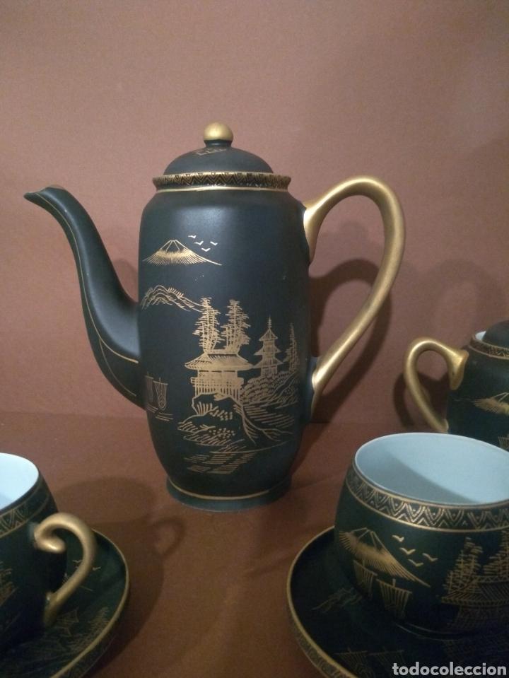 Antigüedades: Juego Café Eiho Negro Dorado - Foto 3 - 183702615