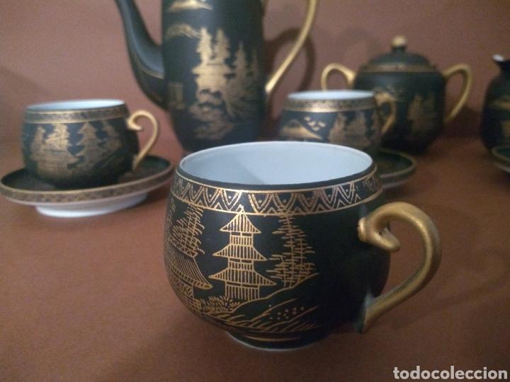 Antigüedades: Juego Café Eiho Negro Dorado - Foto 7 - 183702615
