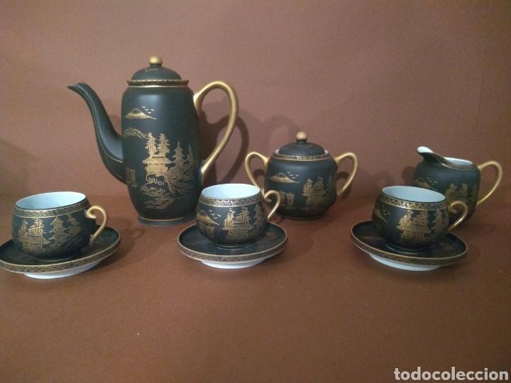 JUEGO CAFÉ EIHO NEGRO DORADO (Antigüedades - Porcelana y Cerámica - Japón)