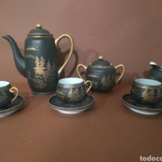 Antigüedades: JUEGO CAFÉ EIHO NEGRO DORADO. Lote 183702615