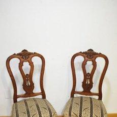 Antigüedades: PAREJA DE SILLAS ANTIGUAS TALLADAS. Lote 183710755
