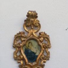 Antigüedades: ANTIGUO MARCO PARA ESPEJO CORNUCOPIA DE MADERA TALLADA A MANO Y ORO FINO SIGLO XIX. Lote 183715750