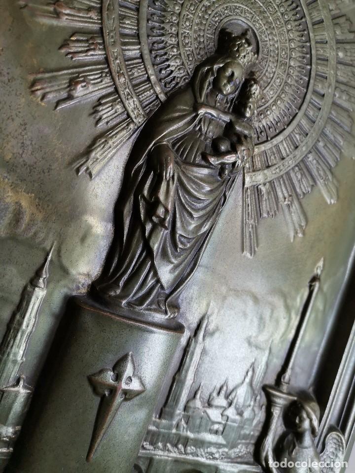 Antigüedades: CUADRO RELIEVE PLACA DE COBRE REPUJADA Ntra. Sra. DEL PILAR. PILARICA. ZARAGOZA.SIGLO XIX - Foto 15 - 183727737