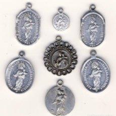 Antigüedades: SIETE MEDALLITAS DE MARÍA AUXILIADORA.-. Lote 183728501