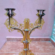 Antigüedades: CANDELABRO REALIZADO EN MADERA CALADA - ANTIGUO. Lote 183729755