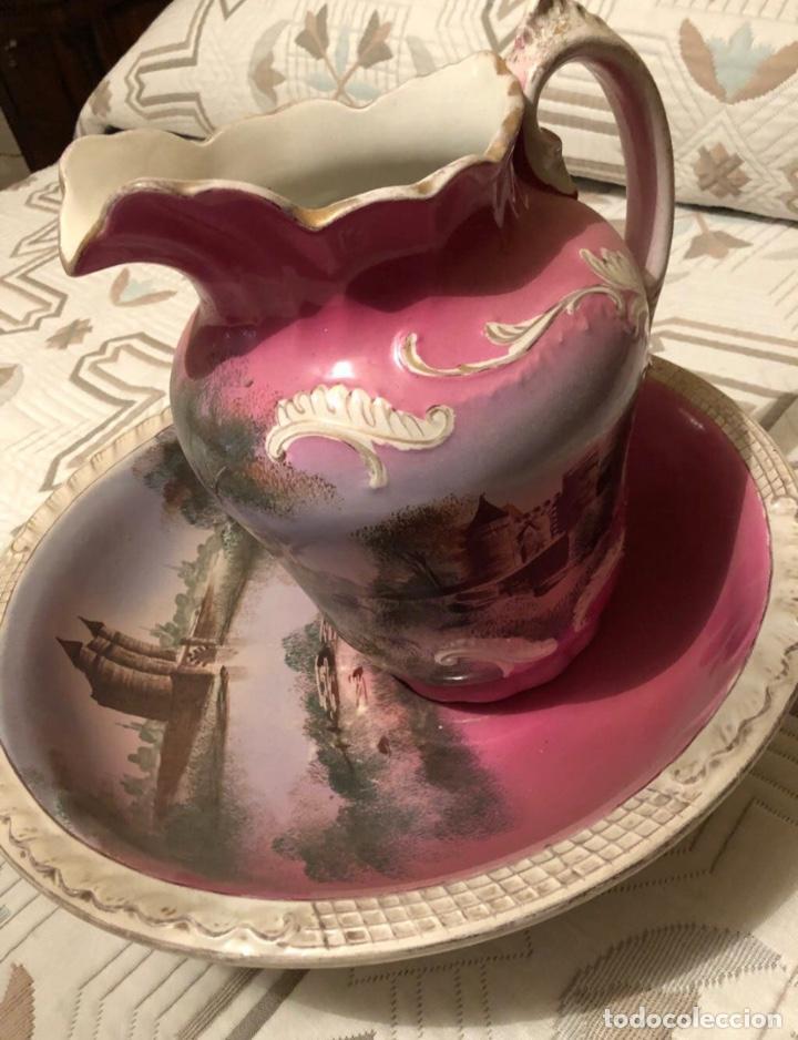 PALANGANA Y JARRA ANTIGÜEDADES CARTUJA (Antigüedades - Porcelanas y Cerámicas - La Cartuja Pickman)