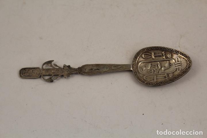 CUCHARA EJIPTO EN PLATA DE LEY 925 (Antigüedades - Platería - Plata de Ley Antigua)