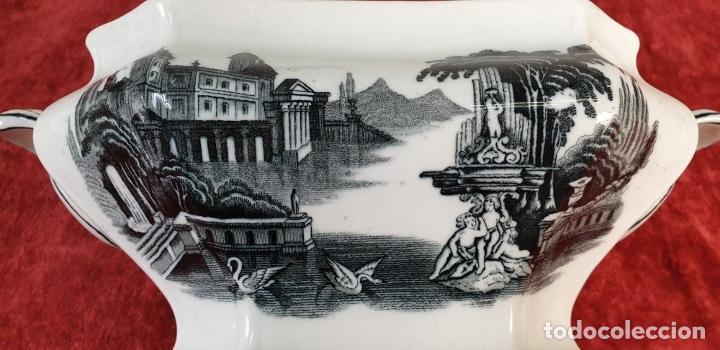 Antigüedades: SOPERA DE PORCELANA ESMALTADA. MOTIVOS CLÁSICOS ESTAMPADOS. PICKMAN. SIGLO XX. - Foto 9 - 183763786