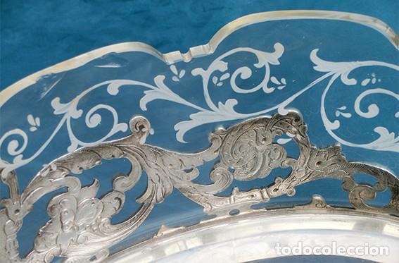 Antigüedades: PRECIOSO CENTRO DE MESA MODERNISTA - WMF - JARDINERA - METAL PLATEADO Y CRISTAL PINTADO - ÁNGELES - Foto 15 - 183767626