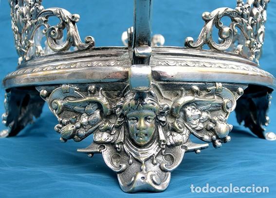 Antigüedades: PRECIOSO CENTRO DE MESA MODERNISTA - WMF - JARDINERA - METAL PLATEADO Y CRISTAL PINTADO - ÁNGELES - Foto 27 - 183767626
