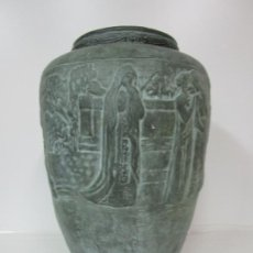Antigüedades: GRAN JARRÓN MODERNISTA - SELLO MARCÓ, CERÁMICA DE QUART (GIRONA) - ESCENAS DE SAN JORGE. Lote 183770663