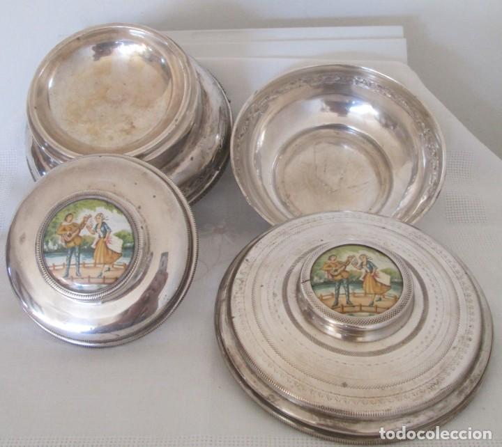 Antigüedades: Preciosas dos piezas de antiguo juego de tocador. Polvera y joyero/guarda algodones, en plaque - Foto 4 - 183773293