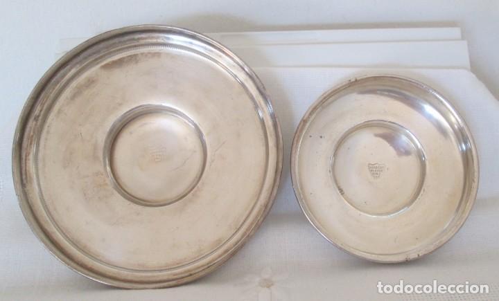 Antigüedades: Preciosas dos piezas de antiguo juego de tocador. Polvera y joyero/guarda algodones, en plaque - Foto 6 - 183773293