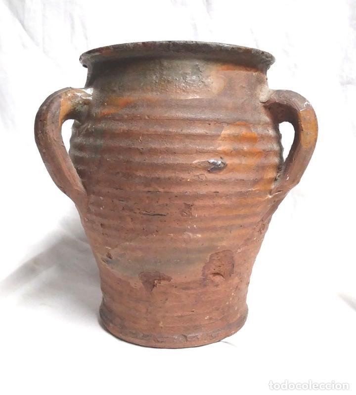 Antigüedades: Orza Zona Levante Traiguera finales S XIX, buen estado. Med. 17 x 19 cm - Foto 2 - 183792852