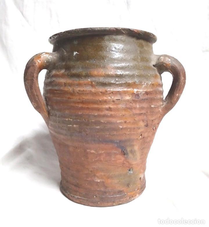 Antigüedades: Orza Zona Levante Traiguera finales S XIX, buen estado. Med. 17 x 19 cm - Foto 3 - 183792852