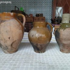 Antigüedades: TRES ANTIGUOS CÁNTAROS DE TERUEL. . Lote 183796980