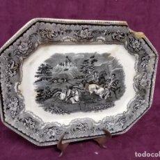 Antigüedades: ANTIGUO PLATO DE CERÁMICA DE CARTAGENA, VALABINO, SELLO EN BASE, UNOS 35 X 27 CMS., DEFECTOS. Lote 183798270