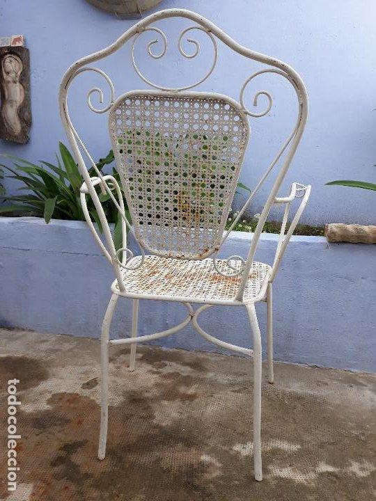Antigüedades: Antigua silla sillón de hierro para jardin - Foto 3 - 183798276