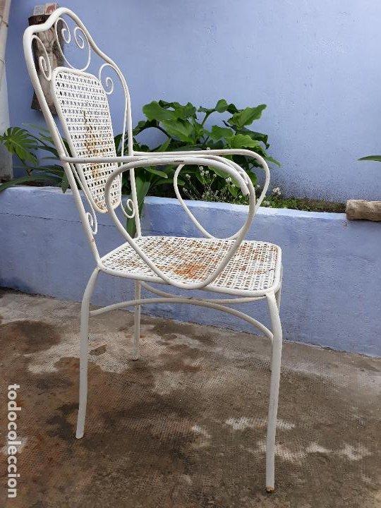 Antigüedades: Antigua silla sillón de hierro para jardin - Foto 4 - 183798276